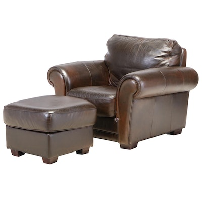 Brown Leather Roll-Arm Club Chair and Ottoman