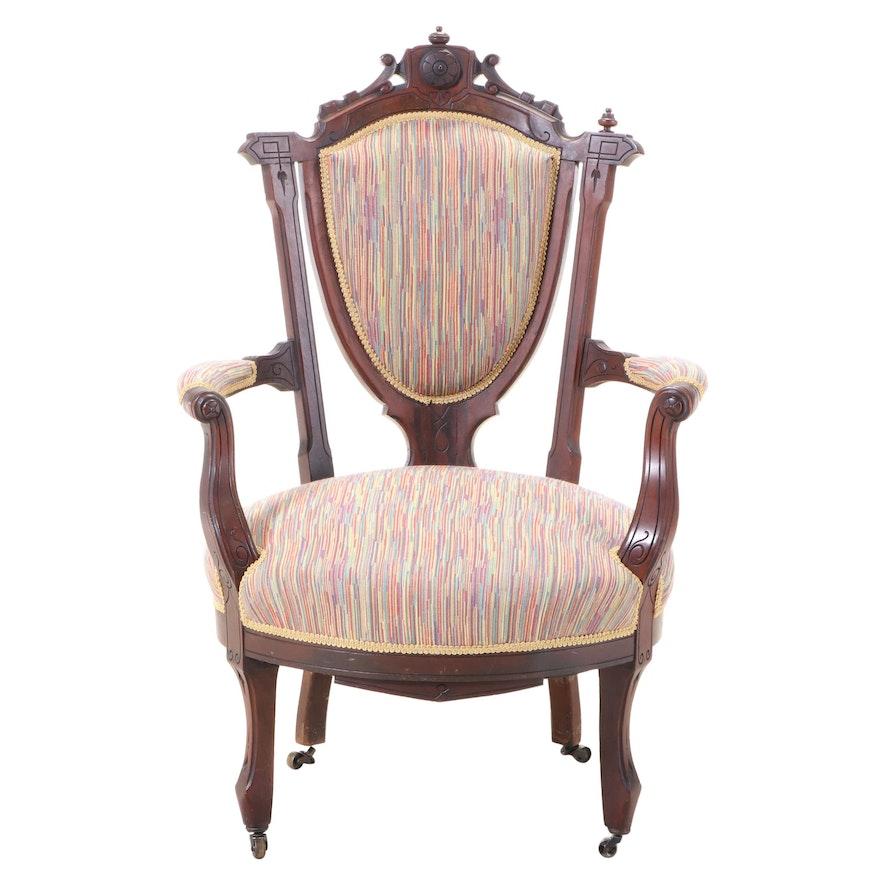 American Renaissance Revival Walnut and Burl Walnut Armchair, circa 1870