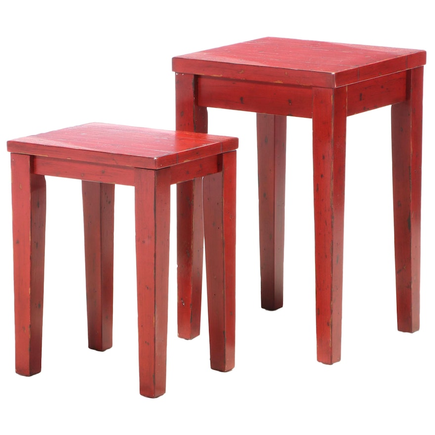 Two Primitive Style Red-Painted Graduated Side Tables