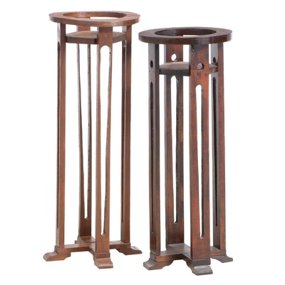 Two Arts and Crafts Style Walnut X-Base Plant Stands, 20th Century
