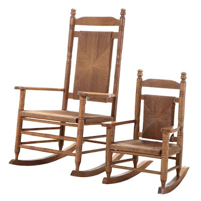 Two American Primitive Style Oak Rockers, Including Child's Example