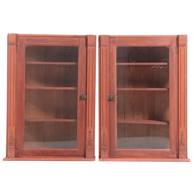 Pair of Victorian Pine Wall Cabinets, Late 19th Century