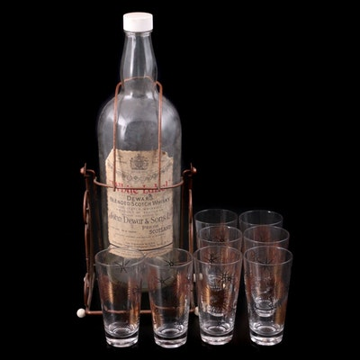"""Federal Glass """"Starburst"""" Highballs with Dewar's Bottle and Swing Stand"""