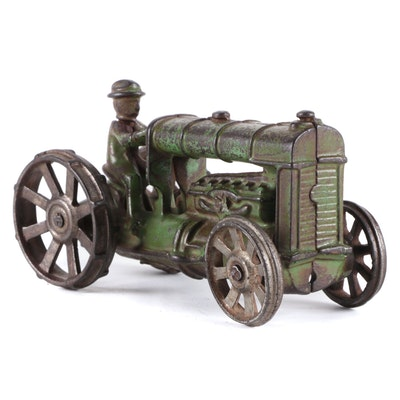 Cast Iron Tractor and Farmer Form Toy, Early to Mid-20th Century