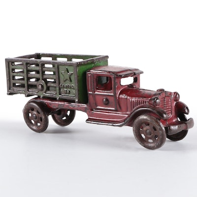 Cast Iron Cold-Painted Dump Truck Toy, Early to Mid-20th Century