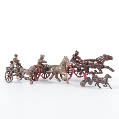 Cast Iron Race Horse and Jockey Form Figurines, Early to Mid-20th Century