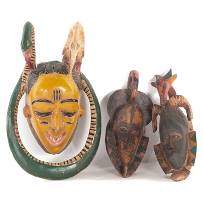 Guro Style Carved Wood Polychrome Masks, West Africa