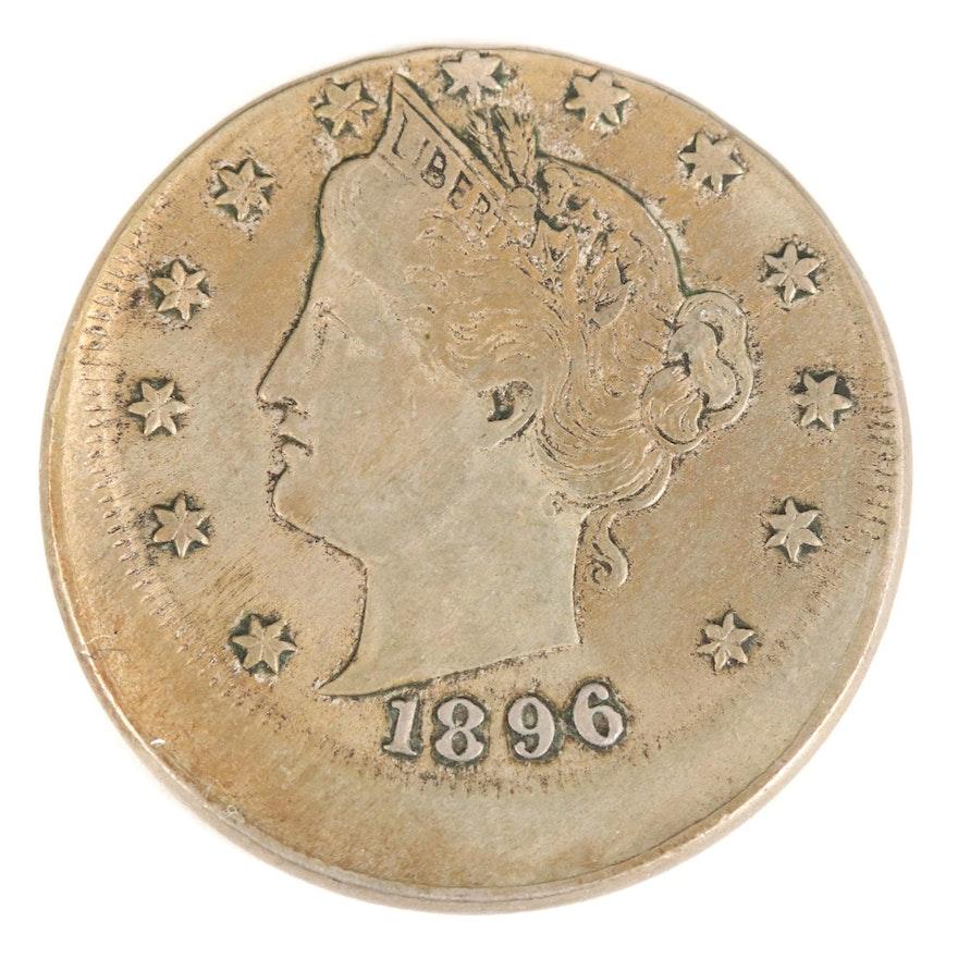 """Mint Error Off-Center Struck 1896 Liberty """"V"""" Nickel"""