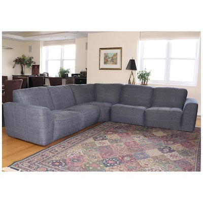 Macy's Five-Piece Sectional Sofa With Velvet Down-Filled Accent Pillows