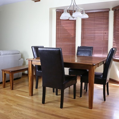 Kuolin Wooden Butterfly Leaf Dining Table with Bench and 4 Chairs