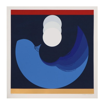 "Thomas Whelan Benton Serigraph ""Evolution Series Blue,"" 1981"