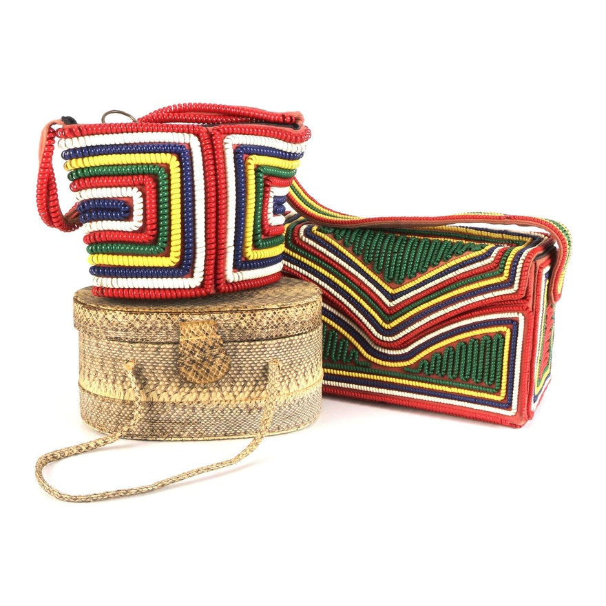 Telephone Cord Handbags with Snakeskin Box Purse