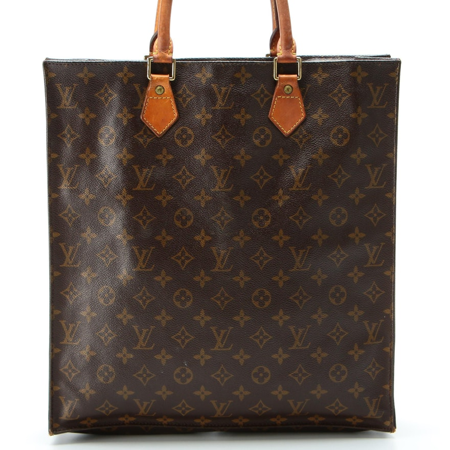 Louis Vuitton Sac Plat in Monogram Canvas and Vachetta Leather