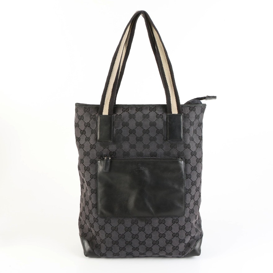 Gucci Tote Bag in Black GG Canvas and Leather Trim