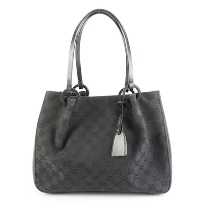 Gucci Small Tote in GG Canvas with Leather Trim and Attached Pouch in Black