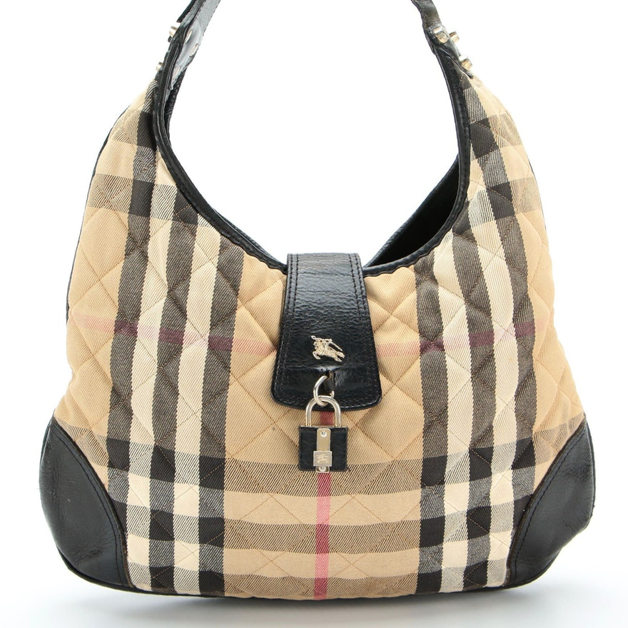 Burberry Hobo Shoulder Bag in Quilted ''Nova Check'' Twill with Black Leather