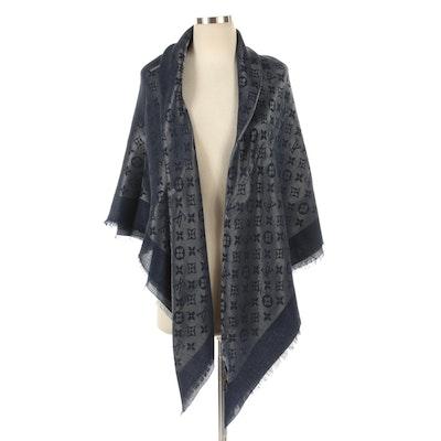 Louis Vuitton Blue Monogram Silver Shine Silk and Wool Blend Shawl