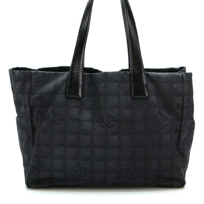Chanel Travel Line Tote in Black Nylon Jacquard with Leather Trim