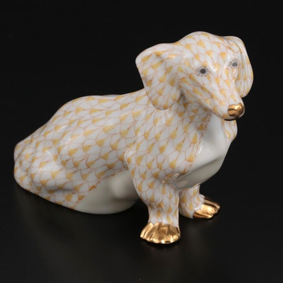 Herend Butterscotch with Gold Fishnet Porcelain Dachshund Figurine