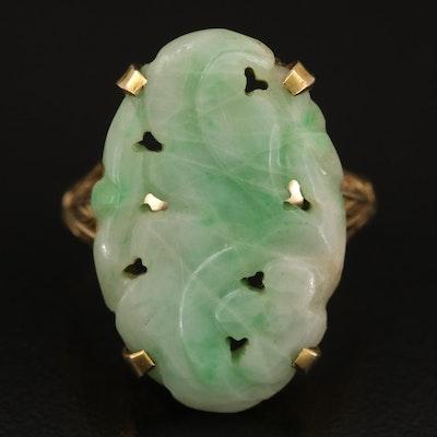 10K Oval Carved Jadeite Ring