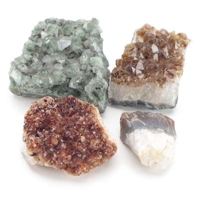 Raw Quartz, Citrine, and Aventurine Quartz Cluster Mineral Specimens