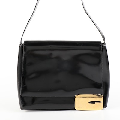 Gucci Shoulder Bag in Black Polish Leather with Magnetic Flap Logo Closure