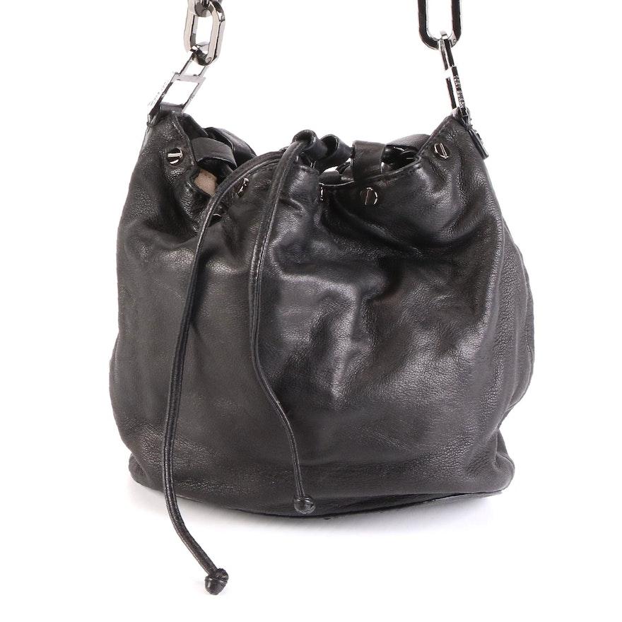 Tory Burch Drawstring Handbag in Black Leather