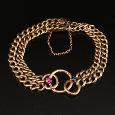 14K Ruby and Sapphire Interlocked Circle and Double Curb Bracelet