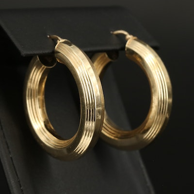 Italian 14K Hoop Earrings with Fluted Features