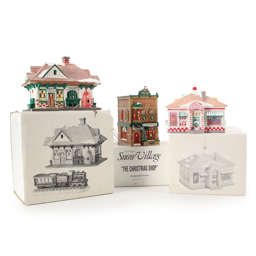 """Department 56 Snow Village """"Village Station and Train"""" and More"""