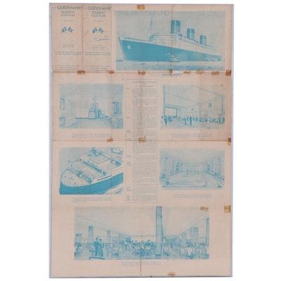"""Cunard White Star R.M.S. """"Queen Mary"""" Advanced Issue Tourist Class Plan, 1935"""