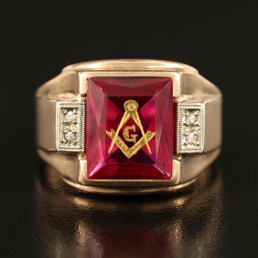 Masonic 10K Ruby and 0.03 CTW Diamond Ring