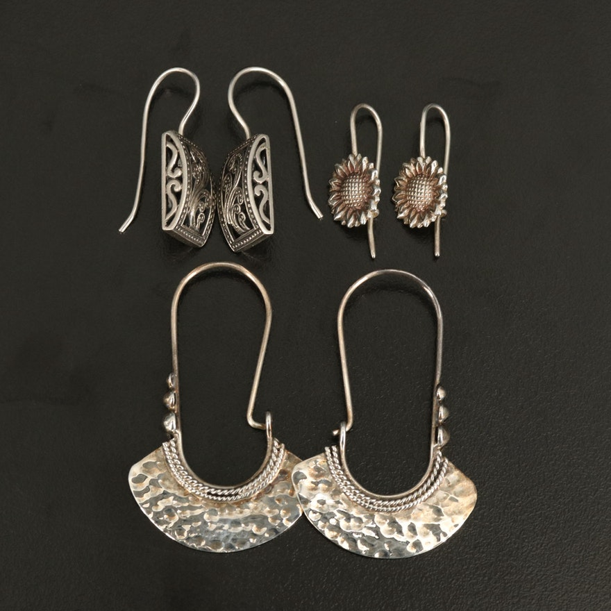Sterling Earring Collection Mexican Hoop and Silpada Rectangular Drop Earrings