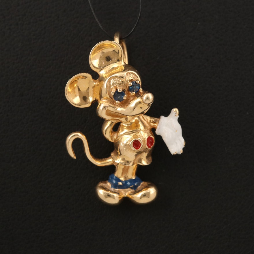 Disney 14K Sapphire and Enamel Mickey Mouse Pendant