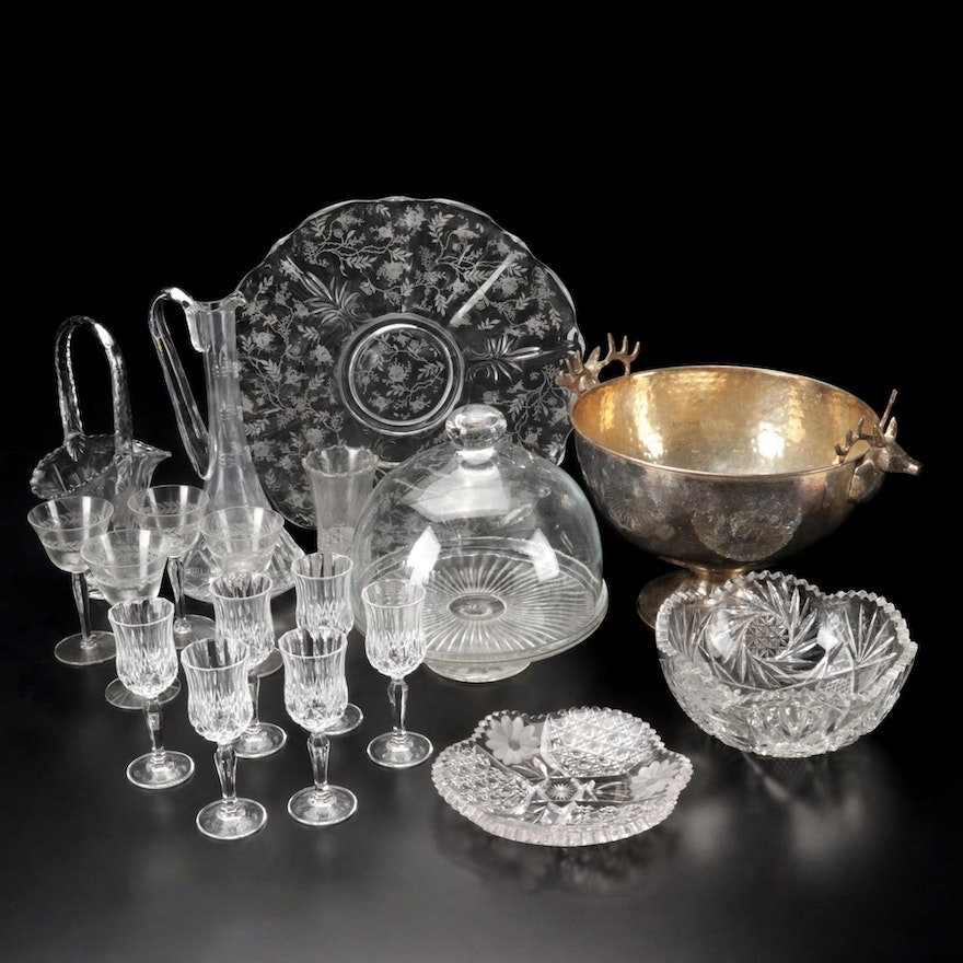 American Brilliant Cut Bowls and Other Glass and Brass Tableware