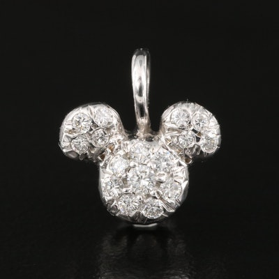 Disney 14K 0.28 CTW Pavé Diamond Mickey Mouse Pendant