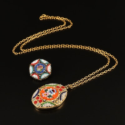 Vintage Italian Glass Micromosaic Necklace and Brooch
