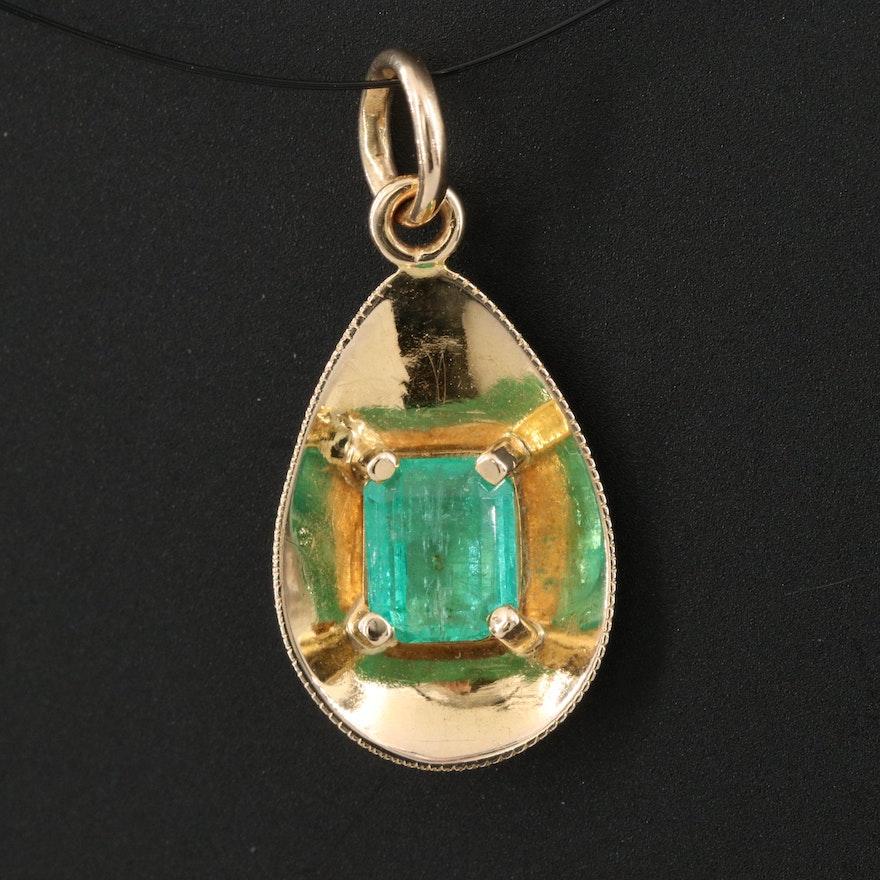 14K Emerald Teardrop Pendant