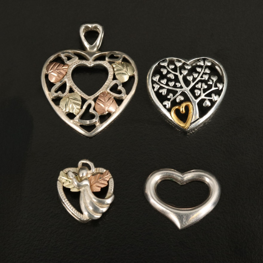 Sterling Heart Pendants with 12K Leaf Accents