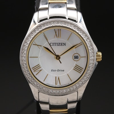 Citizen Eco-Drive Silhouette Mother of Pearl and Crystal Two-Tone Wristwatch