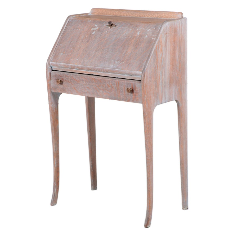 American Paint-Washed and Quartersawn Oak Slant-Front Desk, Early 20th Century