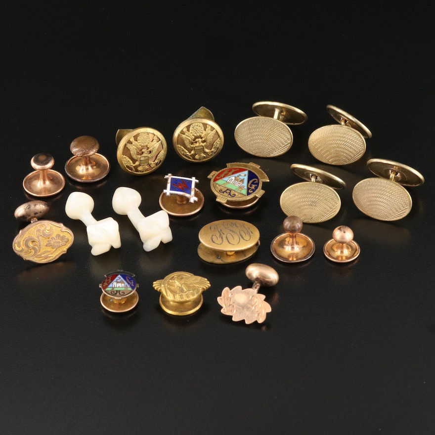 Antique Cufflink and Pin Collection Featuring Whitehead and Hoag