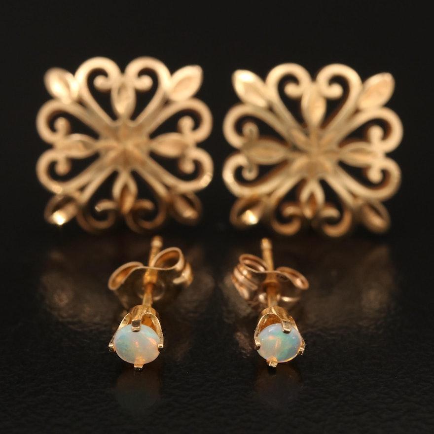 14K Openwork Earrings and 14K Opal Stud Earrings