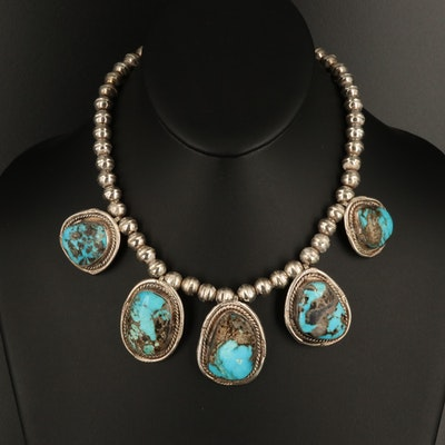 Southwestern Sterling Silver Turquoise Necklace with Rope Borders