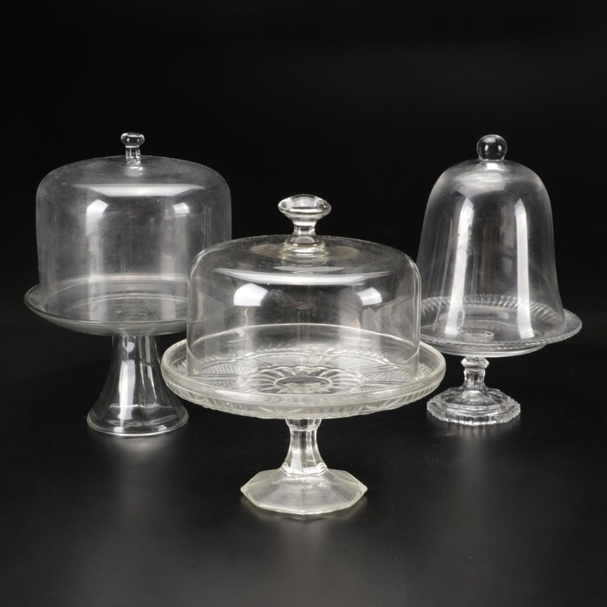 Pressed Glass and Other Glass Cake Stands with Domes,  20th Century