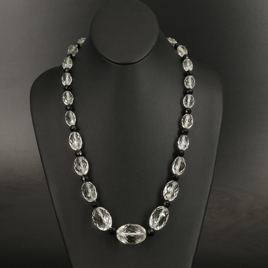 Art Deco Graduated Rock Crystal and Black Onyx Beaded Necklace