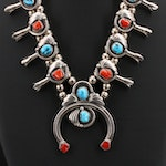 Southwestern Signed Turquoise and Coral Squash Blossom Necklace with Naja