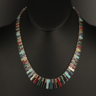 950 Silver Pyrite, Lapis Lazuli, Black Onyx and Gemstone Graduated Fringe Choker