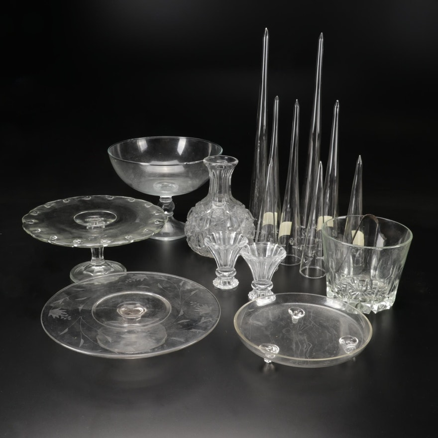 Glass Cake Stands, Compote, Candlesticks and Other Table Accessories