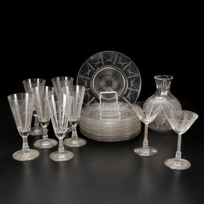 """Art Deco Libbey """"Malmaison"""" Plates and Stemware with Other Pressed Glass Carafe"""
